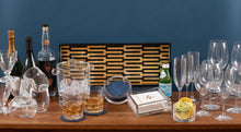 Load image into Gallery viewer, Caspari Zipper Lacquer Bar Tray in Black & Gold