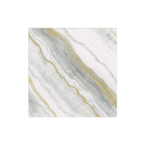 Caspari Marble Grey- Cocktail Napkins