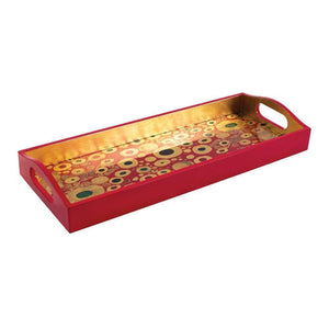 Caspari Viennese Nouveau Lacquer Bar Tray in Red