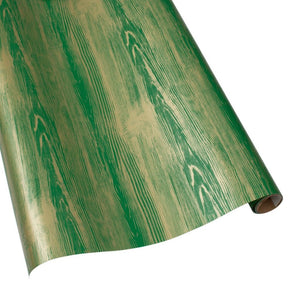 Caspari Faux Bois Green Wrapping Paper