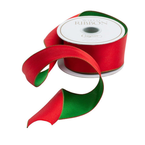 Caspari Holiday Wired Ribbon- Red and Green Reversible