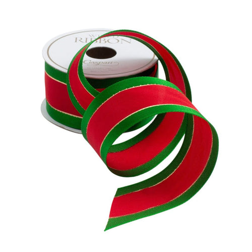Caspari Holiday Wired Ribbon- Red and Green Border