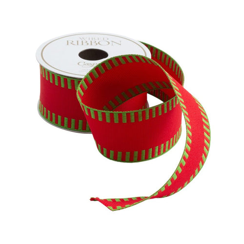 Caspari Wired Ribbon- Red with Green Striped Border