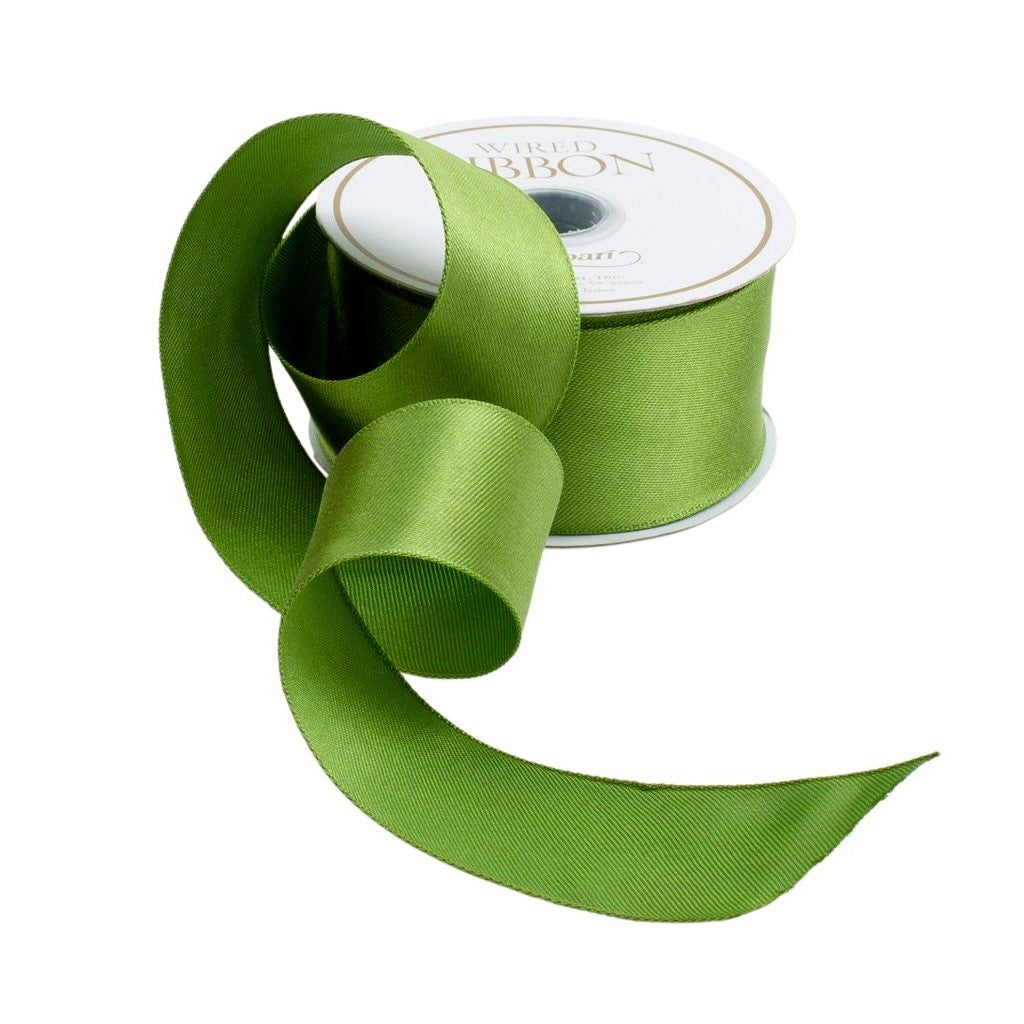 Caspari Wired Ribbon- Satin Solid Green