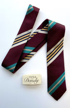 Load image into Gallery viewer, Fine and Dandy Burgundy Striped Silk Tie