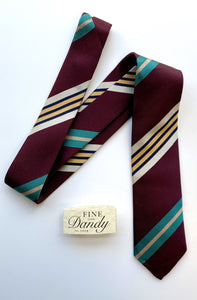 Fine and Dandy Burgundy Striped Silk Tie