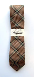 Fine and Dandy Tan Glen Plaid Wool Tie