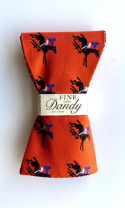 Fine and Dandy Orange Equestrian & Glen Plaid Reversible Bow Tie