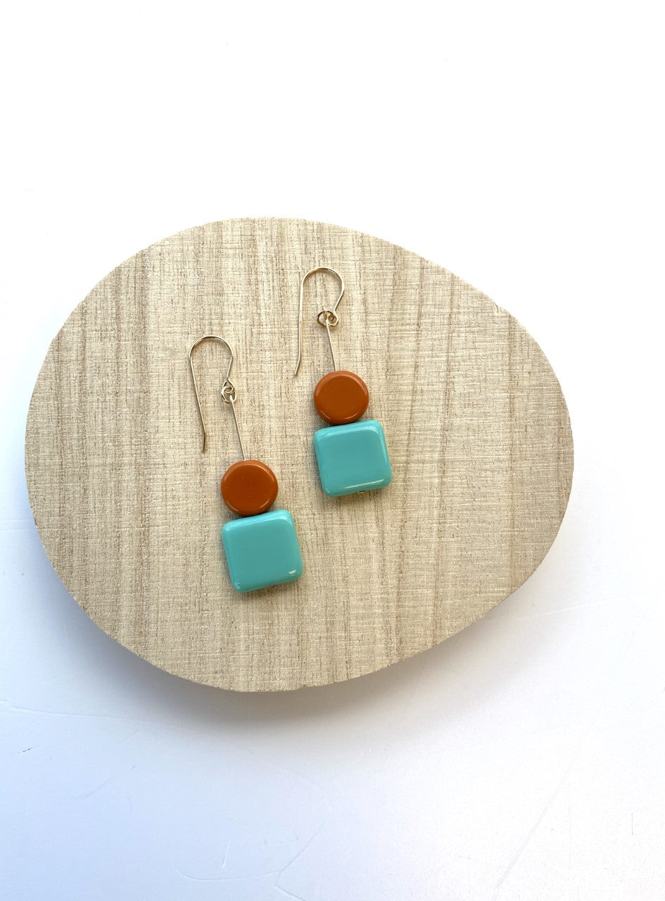 Kappos Stacked Aqua Square and Orange Circle Earrings