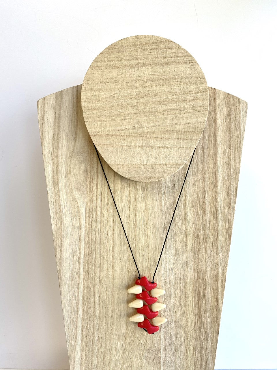 Kappos Red and Cream Zigzag Necklace