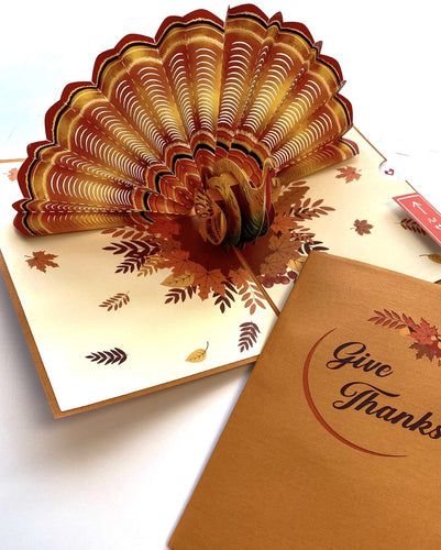 Love Pop Give Thanks Turkey 3D card