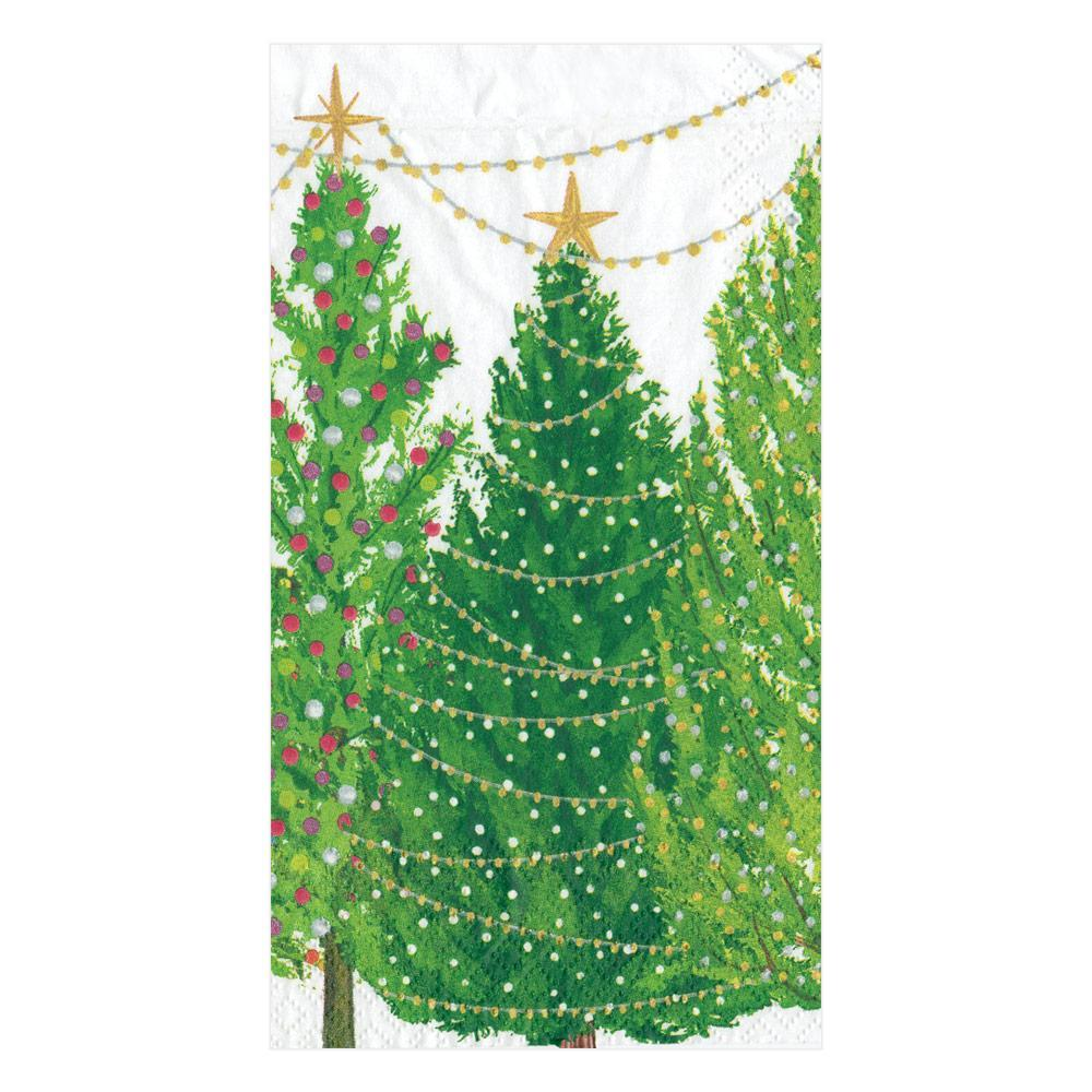 Caspari Christmas Trees with Lights Paper Guest Towel Napkins