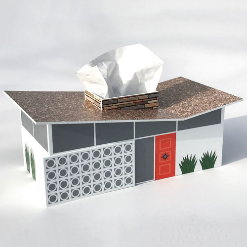 Mid Century Butterfly House Tissue Box Cover