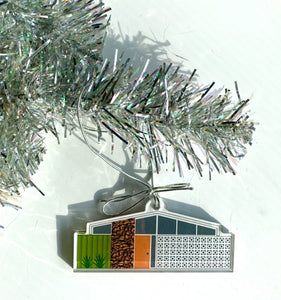 Acrylic Midcentury House Ornament- Twin Palms