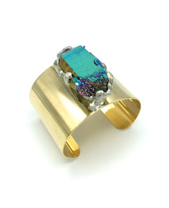 Amanda Zoey Rainbow Quartz Small Gold Cuff