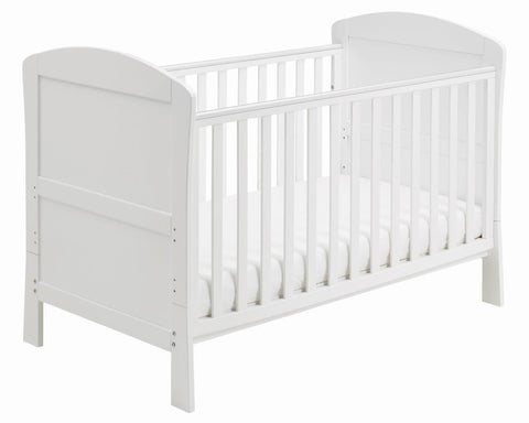Babymore Aston Drop Side Cot Bed - White - The Stork Has Landed