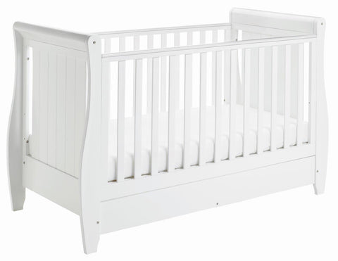 Image of Babymore Stella Drop Side Cot Bed - White - The Stork Has Landed