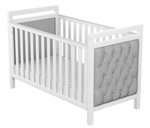 Image of Babymore Velvet Deluxe Cot Bed - White - The Stork Has Landed