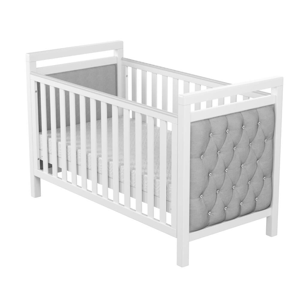 Babymore Velvet Deluxe Cot Bed With Mattress - The Stork Has Landed