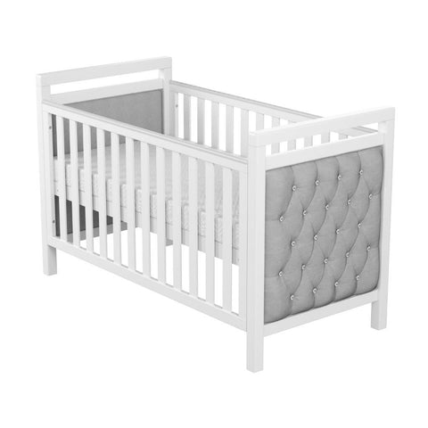 Image of Babymore Velvet Deluxe Cot Bed With Mattress - The Stork Has Landed