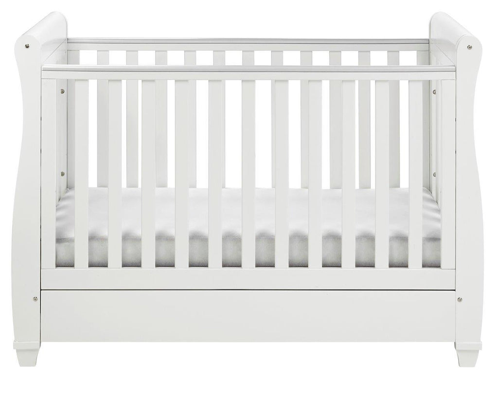 Babymore Eva Drop Side Cot Bed - Pebble Grey - The Stork Has Landed