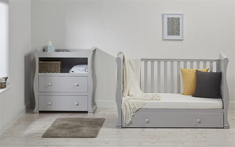 Image of East Coast - Alaska Sleigh Cot Bed, Grey - The Stork Has Landed