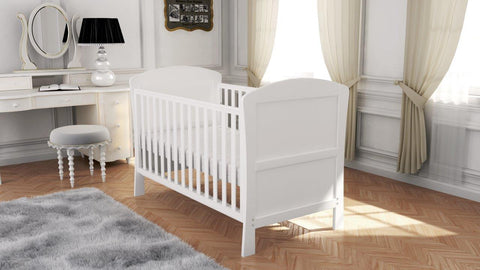 Image of Babymore Aston Drop Side Cot Bed - White - The Stork Has Landed