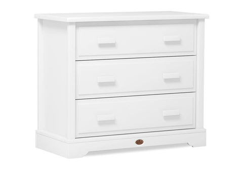 Image of Boori 3 Drawer dresser (with Arched Changing Station) - Barley White - The Stork Has Landed