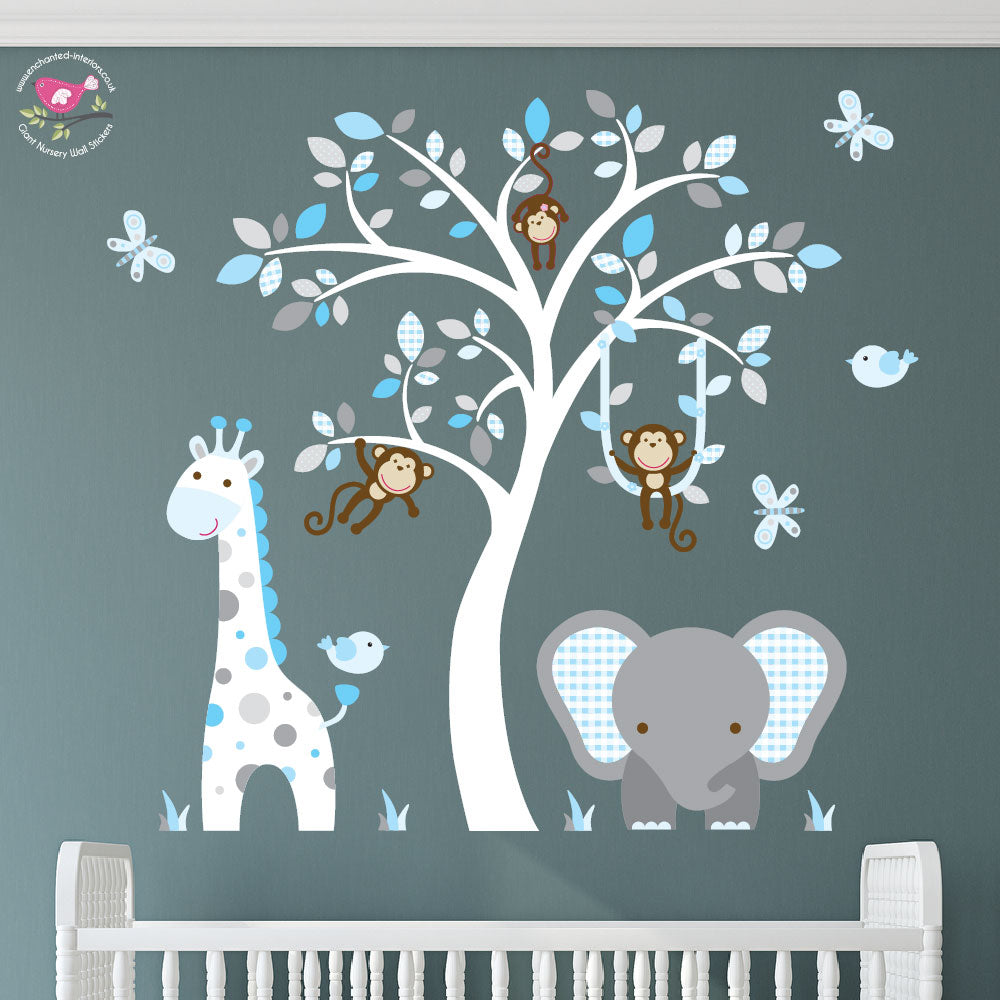 Elephant and Giraffe Blue, Grey & White Nursery - The Stork Has Landed