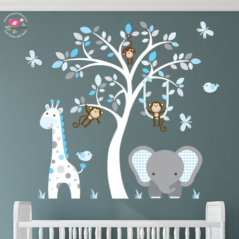 Image of Elephant and Giraffe Blue, Grey & White Nursery - The Stork Has Landed