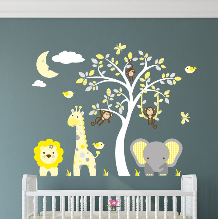 Jungle Wall Art Decals - Yellow and Grey