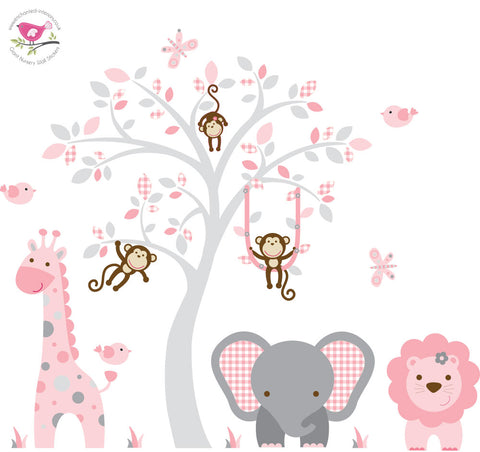 Image of Jungle Wall Art Decals, Pink and Grey Nursery