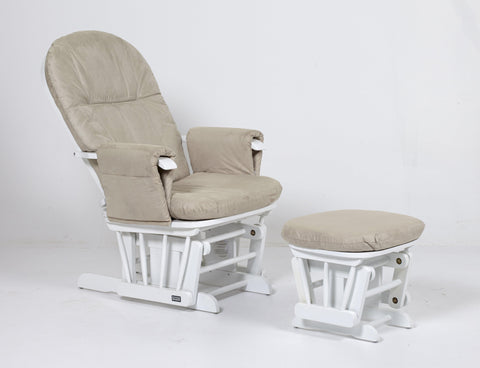 Image of Tutti Bambini - Glider Chair + Footstool - White - The Stork Has Landed