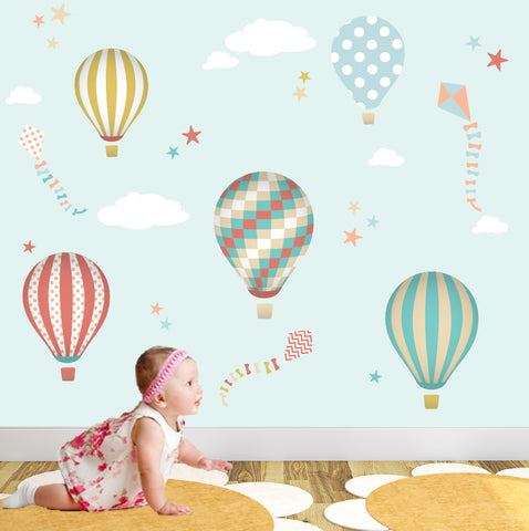 Hot Air Balloons and Kites Nursery Wall Stickers