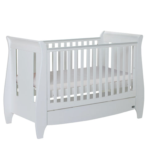 Image of Tutti Bambini - Lucas Cot Bed White with Sprung Mattress - The Stork Has Landed