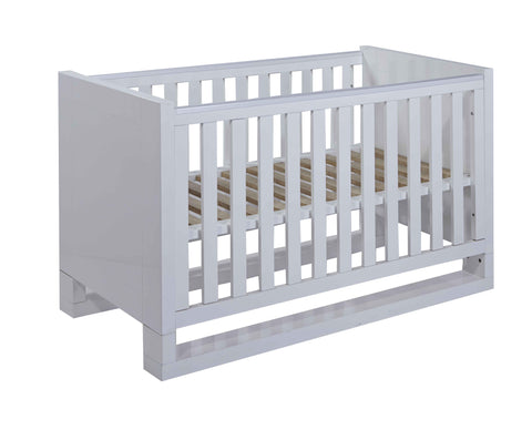 Image of Tutti Bambini - Rimini High-Gloss Cot Bed with Sprung Mattress - The Stork Has Landed