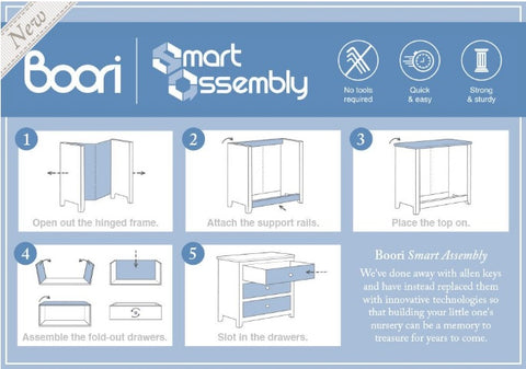 Image of Boori Sleigh 3 Drawer Chest Smart Assembly - Barley - The Stork Has Landed