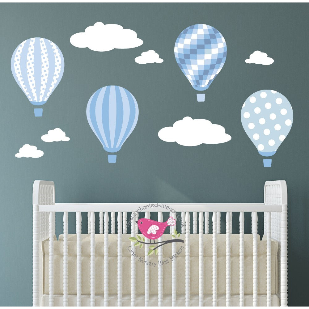 Hot Air Balloons & Clouds Nursery Wall Art Decals - The Stork Has Landed