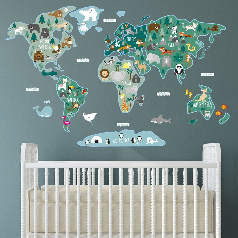 Childrens Map of the World Wall Sticker - The Stork Has Landed