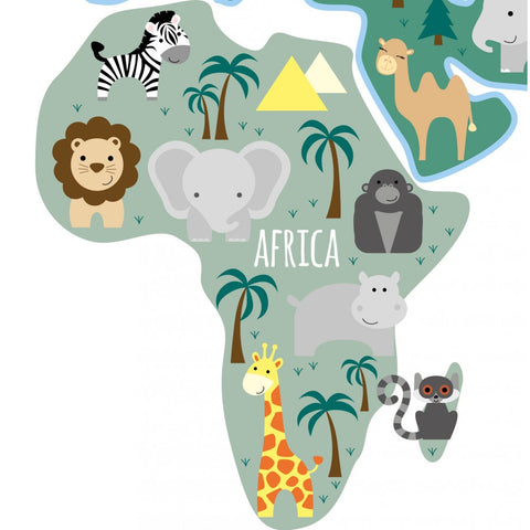 Image of Childrens Map of the World Wall Sticker - The Stork Has Landed
