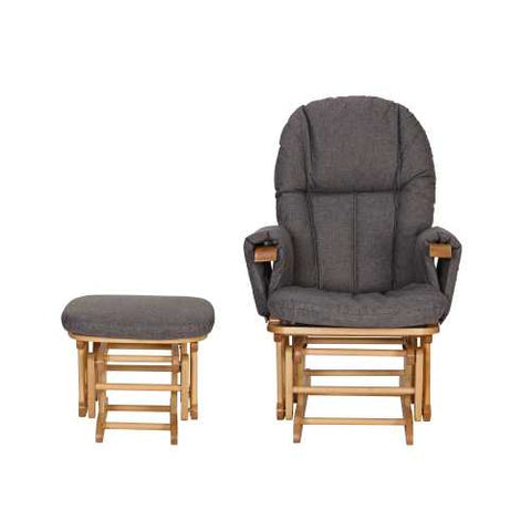 Image of Daisy Deluxe Reclining Glider Chair & Stool - Oak/Charcoal
