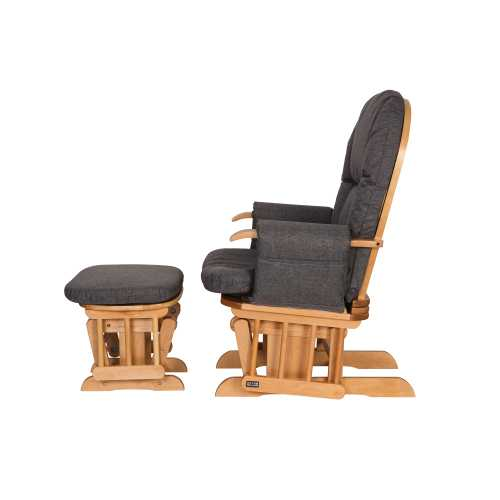 Phenomenal Daisy Deluxe Reclining Glider Chair Stool Oak Charcoal Pabps2019 Chair Design Images Pabps2019Com