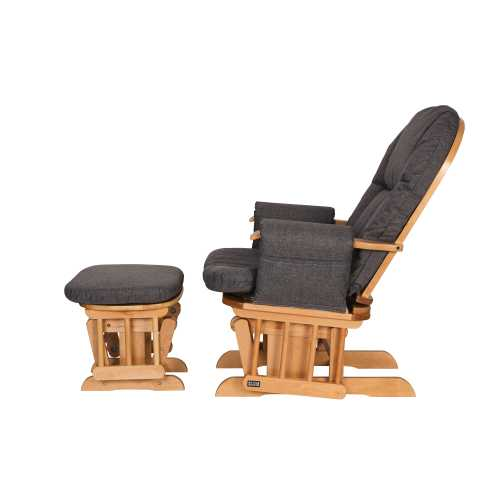 Daisy Deluxe Reclining Glider Chair & Stool - Oak/Charcoal - The Stork Has Landed