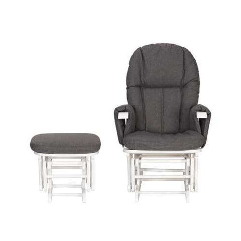 Image of Daisy Deluxe Reclining Glider Chair & Stool - White/Charcoal