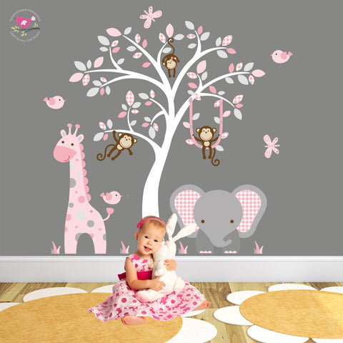 Image of Elephant and Giraffe Pink and Grey Nursery