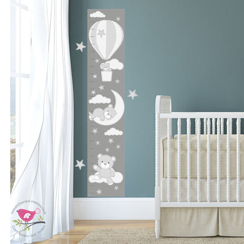 Image of Fabric Stitch Teddy Bear Growth Chart Decal - The Stork Has Landed