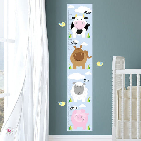 Farm Animal Kids Growth Chart - Neutral