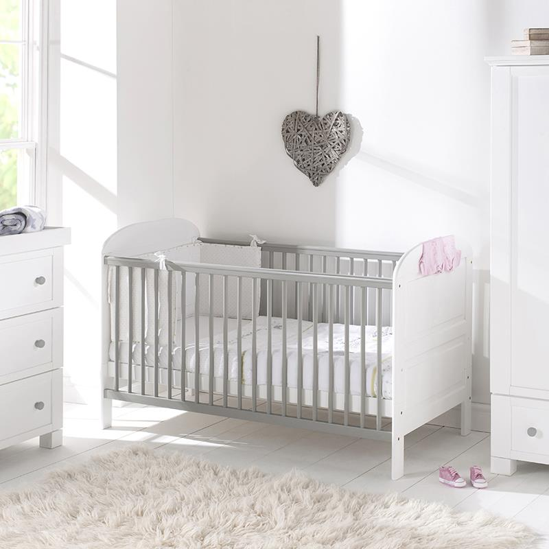 East Coast Angelina Cot Bed in White and Grey