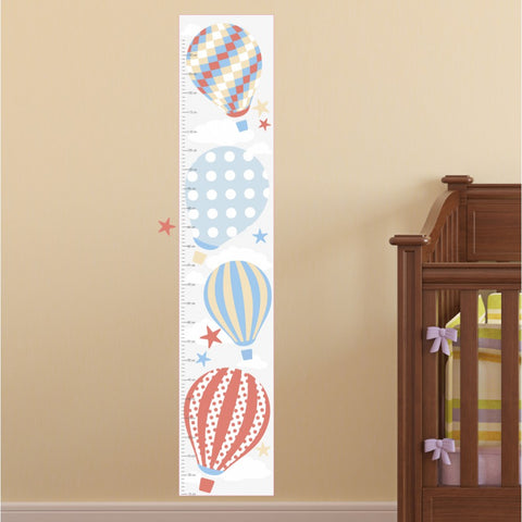 Image of Hot Air Balloon Kids Growth Chart - Neutral