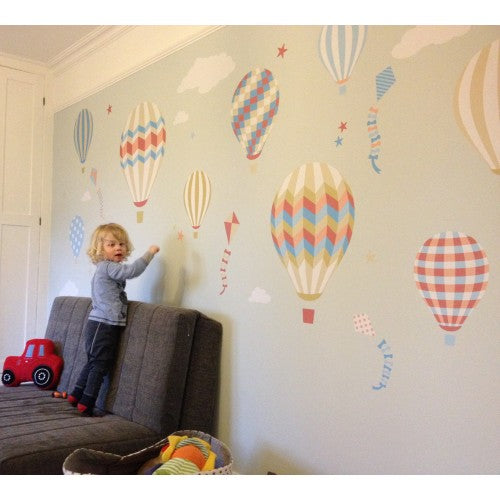 Deluxe Hot Air Balloons & Kites Neutral Wall Stickers - The Stork Has Landed